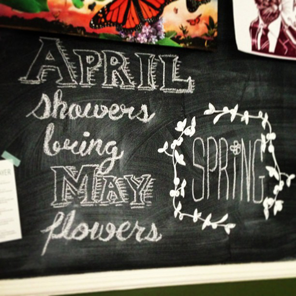 April Showers Bring May Flowers Spring Chalkboard: Ljcfyi: April Showers